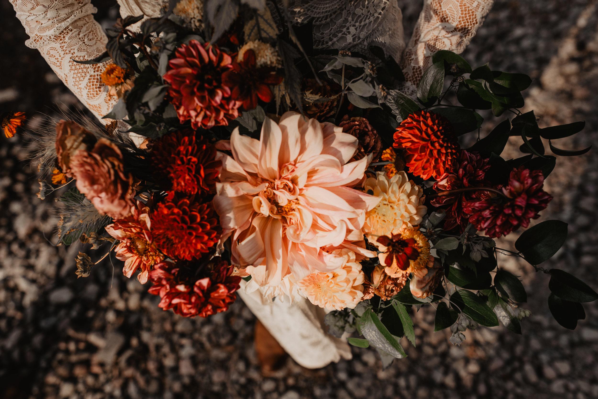 Sustainable Flower Arrangement Glacier National Park MT Renewable and Sustainable Outdoor Elopement Couple