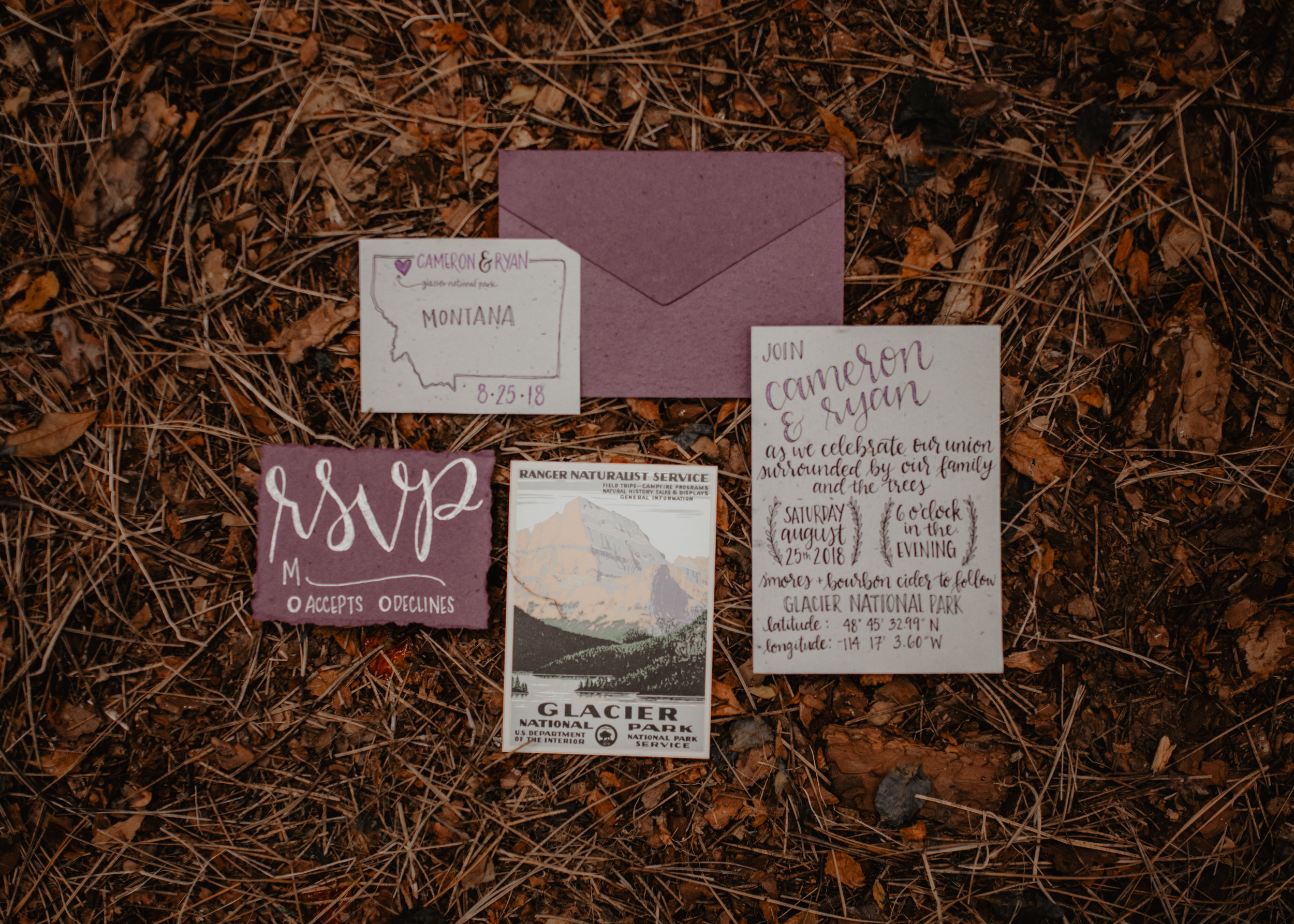 Recycled vintage and bohemian inspired purple wedding invitations