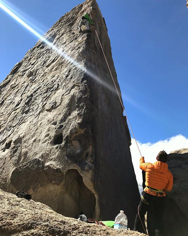 Team building with Team China in the Alabama Hills today was an affirmation of the social and spiritual powers of rock climbing. All of the riders were new to climbing and not one came off of the Shark Fin before reaching the top. #alabamahills #rockclimbing #sharkfin #california