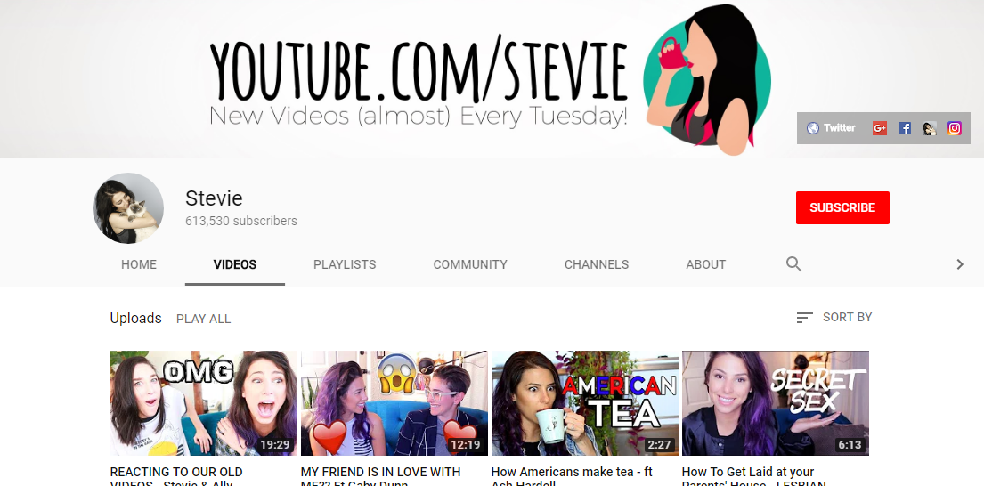 Stevie - Stevie creates fun videos about sex, most frequently talking about lesbian sex and sex toys.