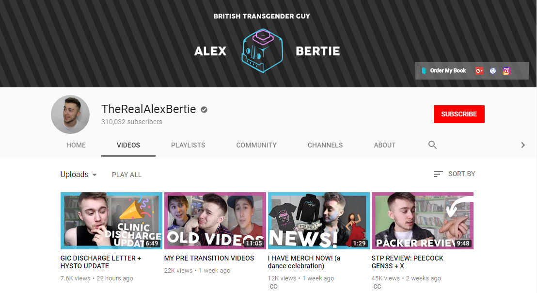 The Real Alex Bertie - Alex makes videos about being trans, creating videos to document his transition and providing support to LGBTQ+ viewers.