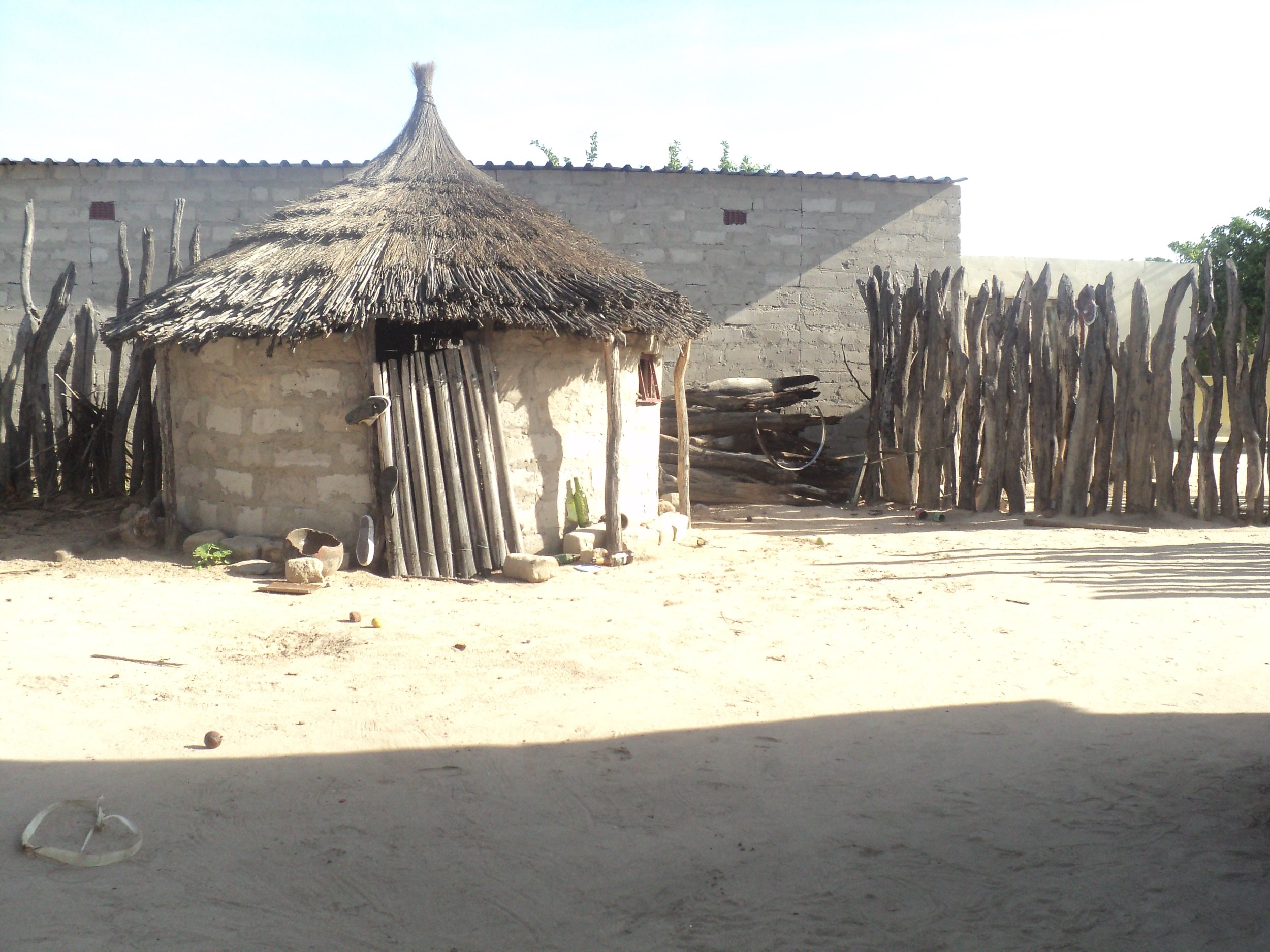 A traditional Owambo tribe hut in a northern Namibian village of the Omusati region.