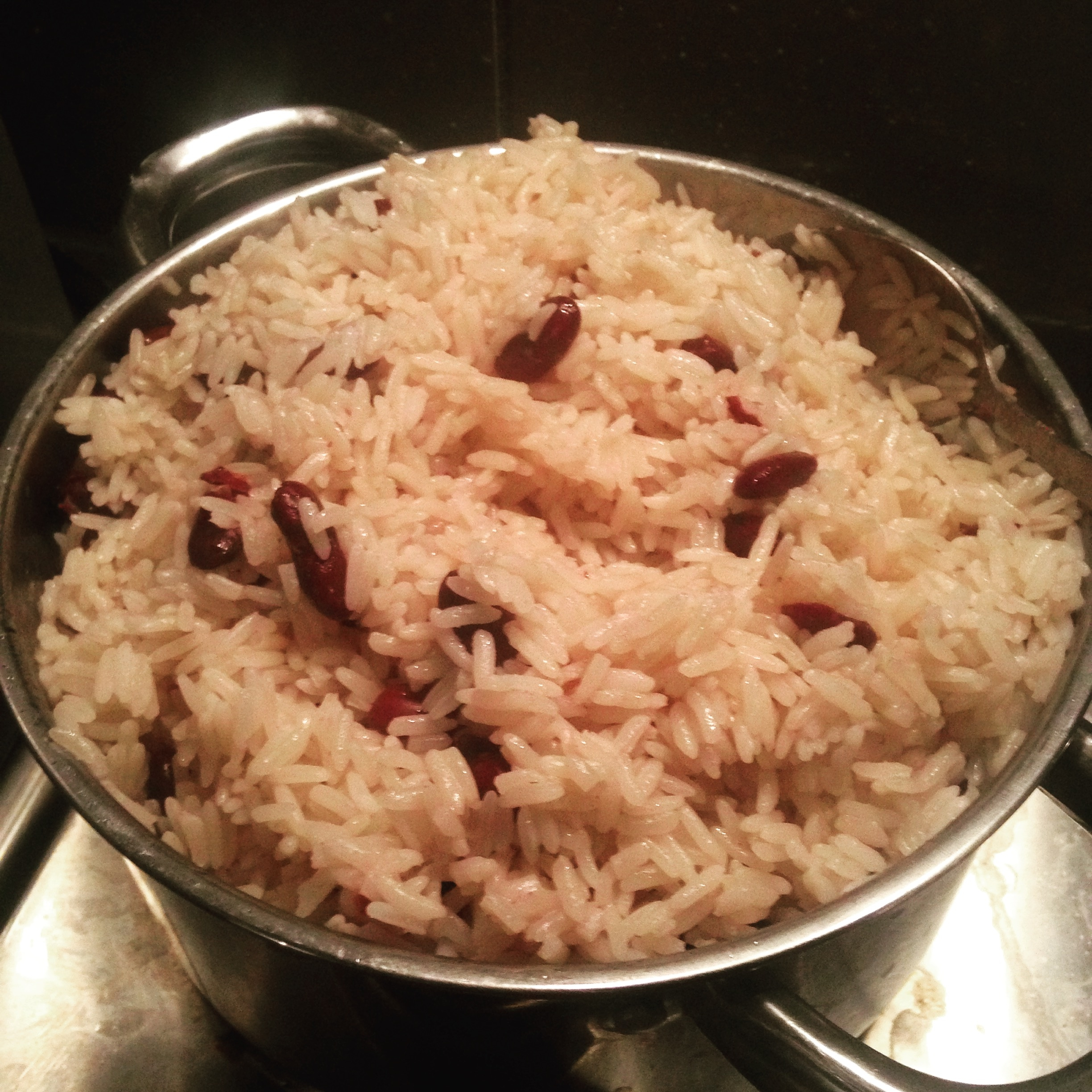 Caribbean flavor. One day I up and made Jamaican rice and peas here in Namibia!