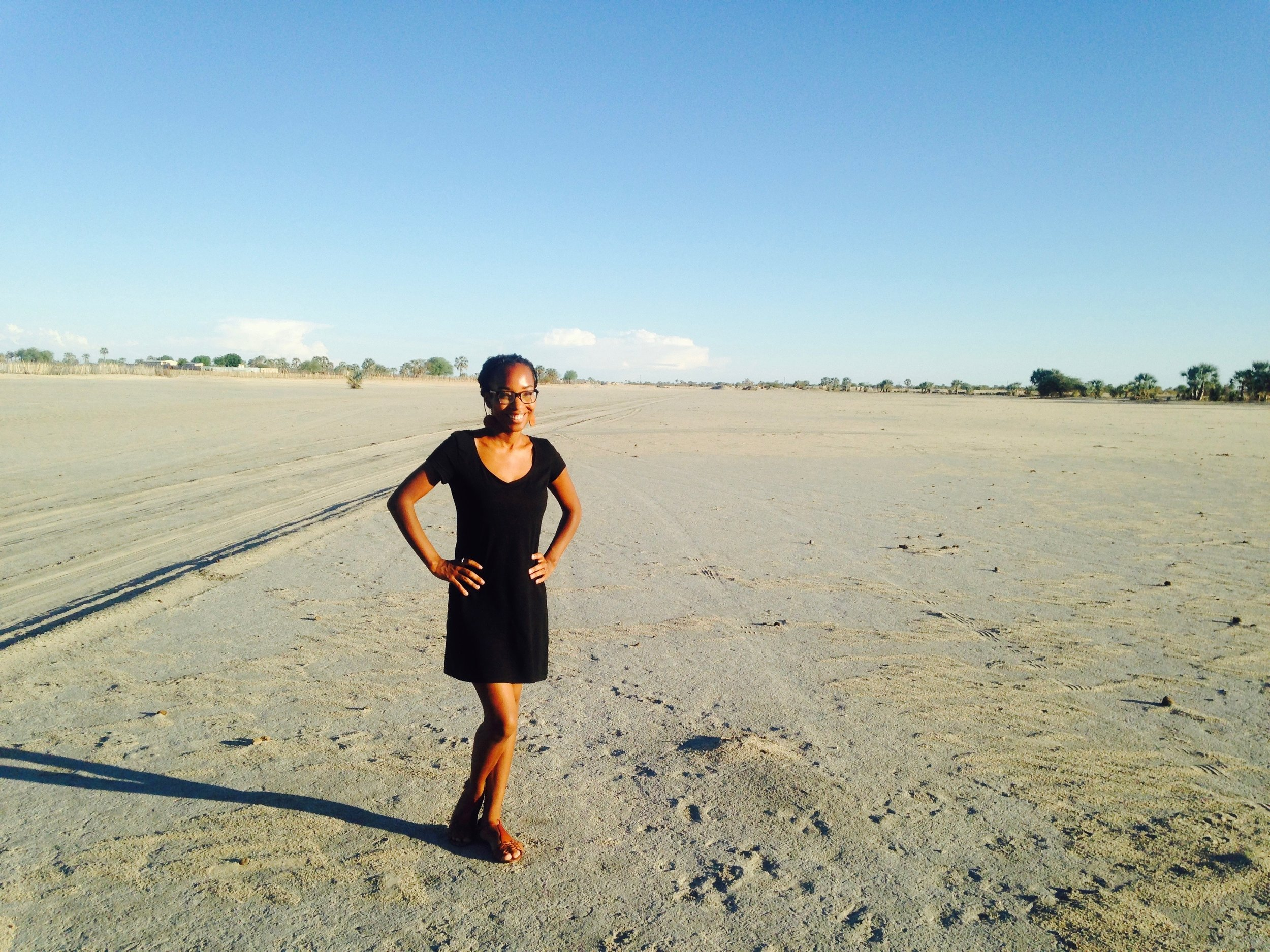 The author standing in a Namibian  oshana .