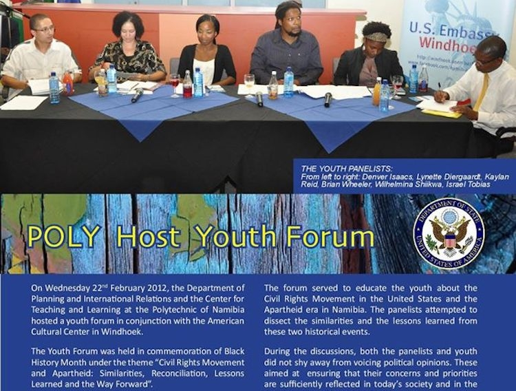 That's me third from the left in a U.S. embassy youth panel here in Namibia.