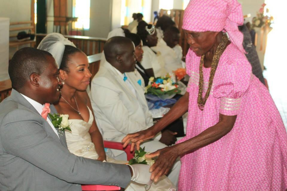 My wedding in Northern Namibia. That's my husband shaking hands sitting next to me.