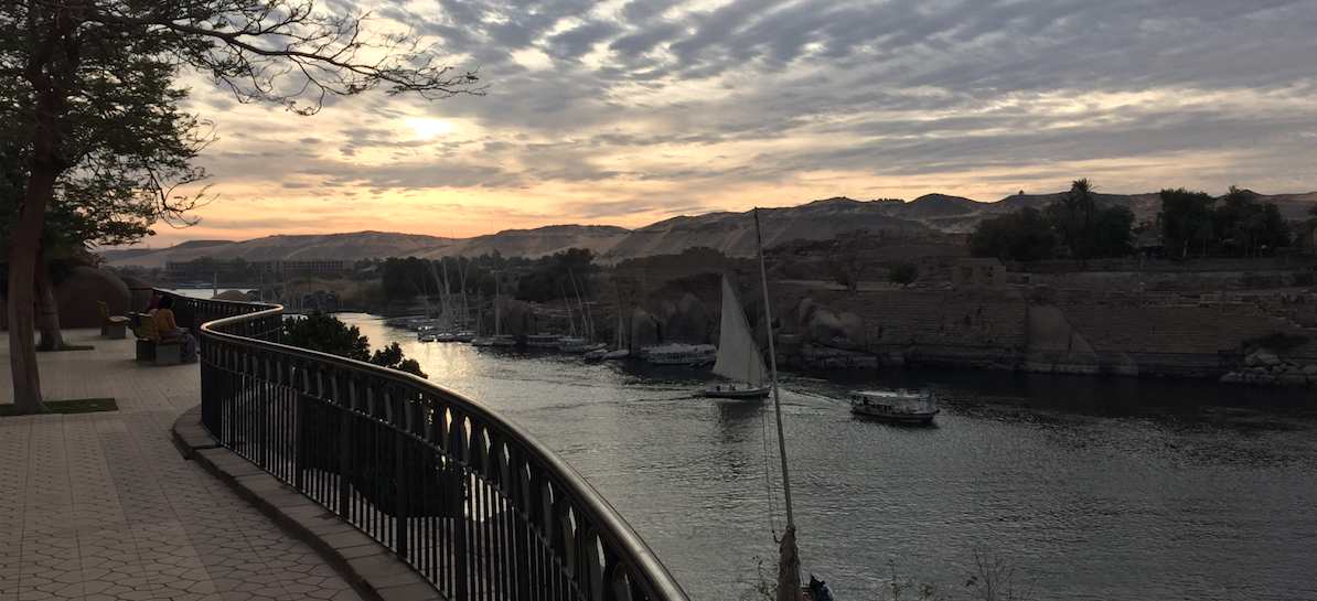 The view from Aswan Park, overlooking the Nile River.
