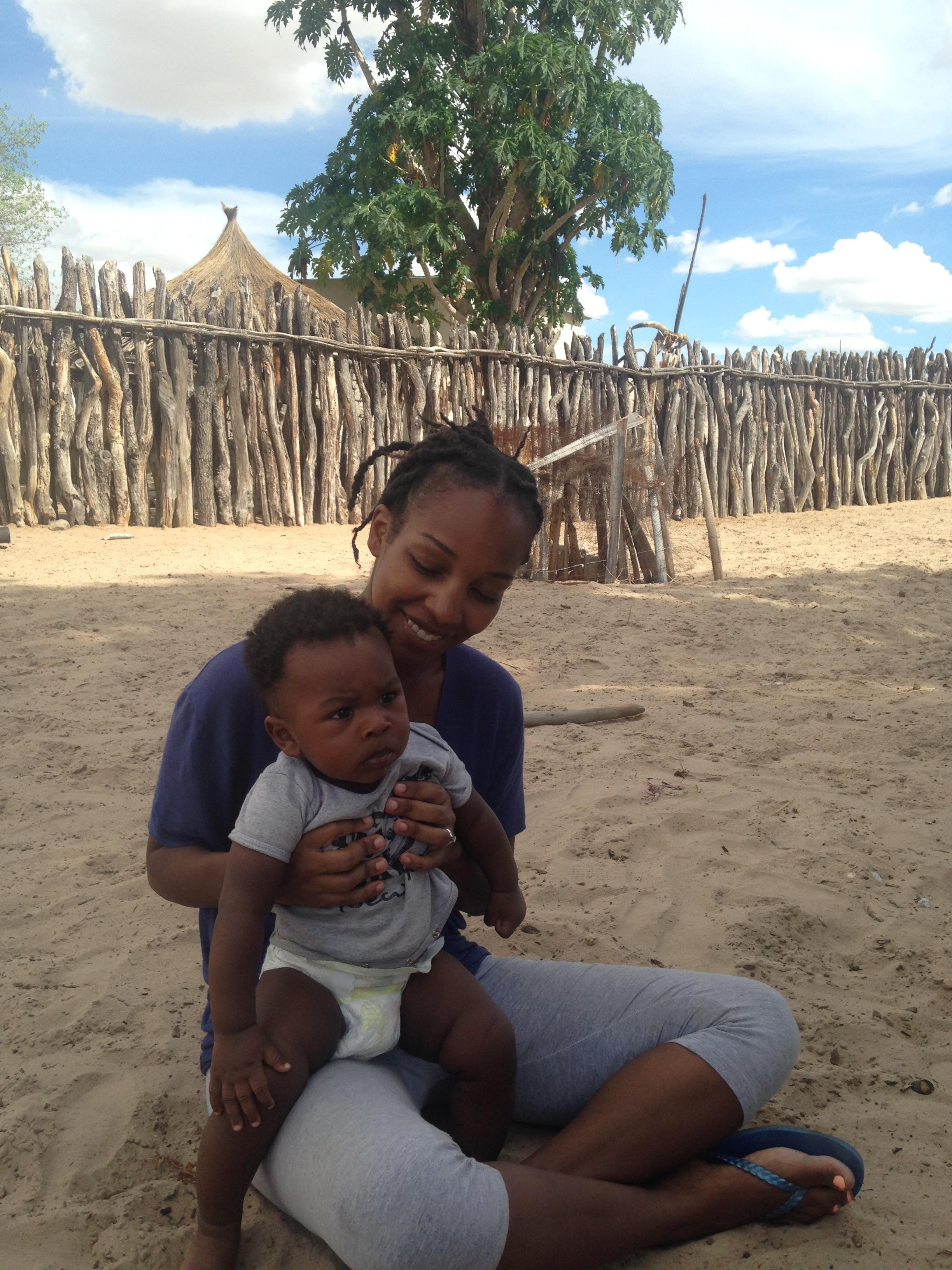 Kaylan six month old baby in inlaws' village.JPG