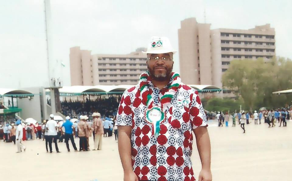 Christopher Johnson pictured at a Worker's Day event in Nigeria.