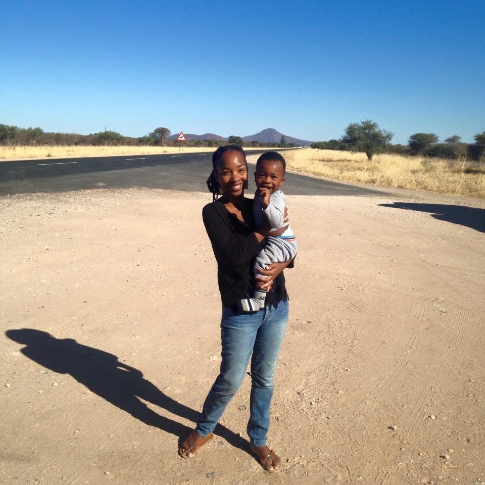 African American In Africa Editor In Chief, Kaylan Reid Shipanga, pictured above with her son. She moved to Namibia as a volunteer teacher in 2010.
