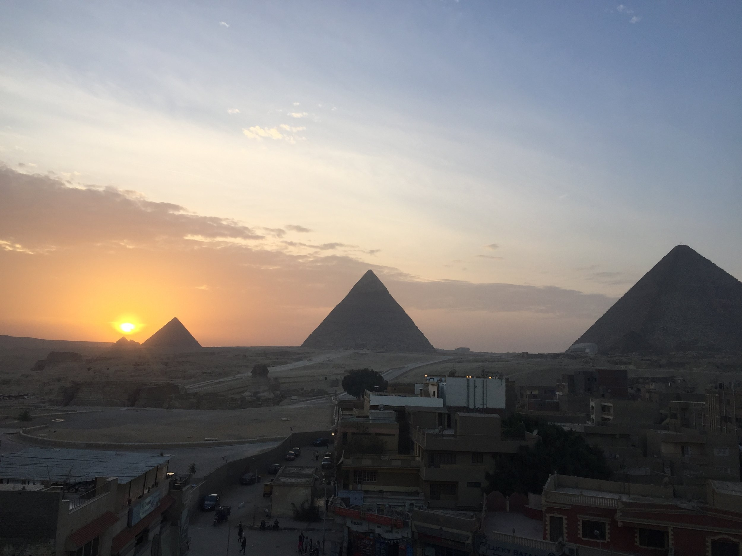 The pyramids of Giza at Sunset.