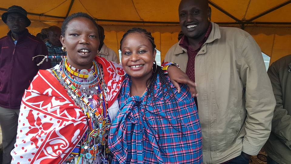Preshay Knight [center] moved from America to Kenya in 2015. Above, she is pictured attending her first women's empowerment Maasai fundraiser in Kenya.