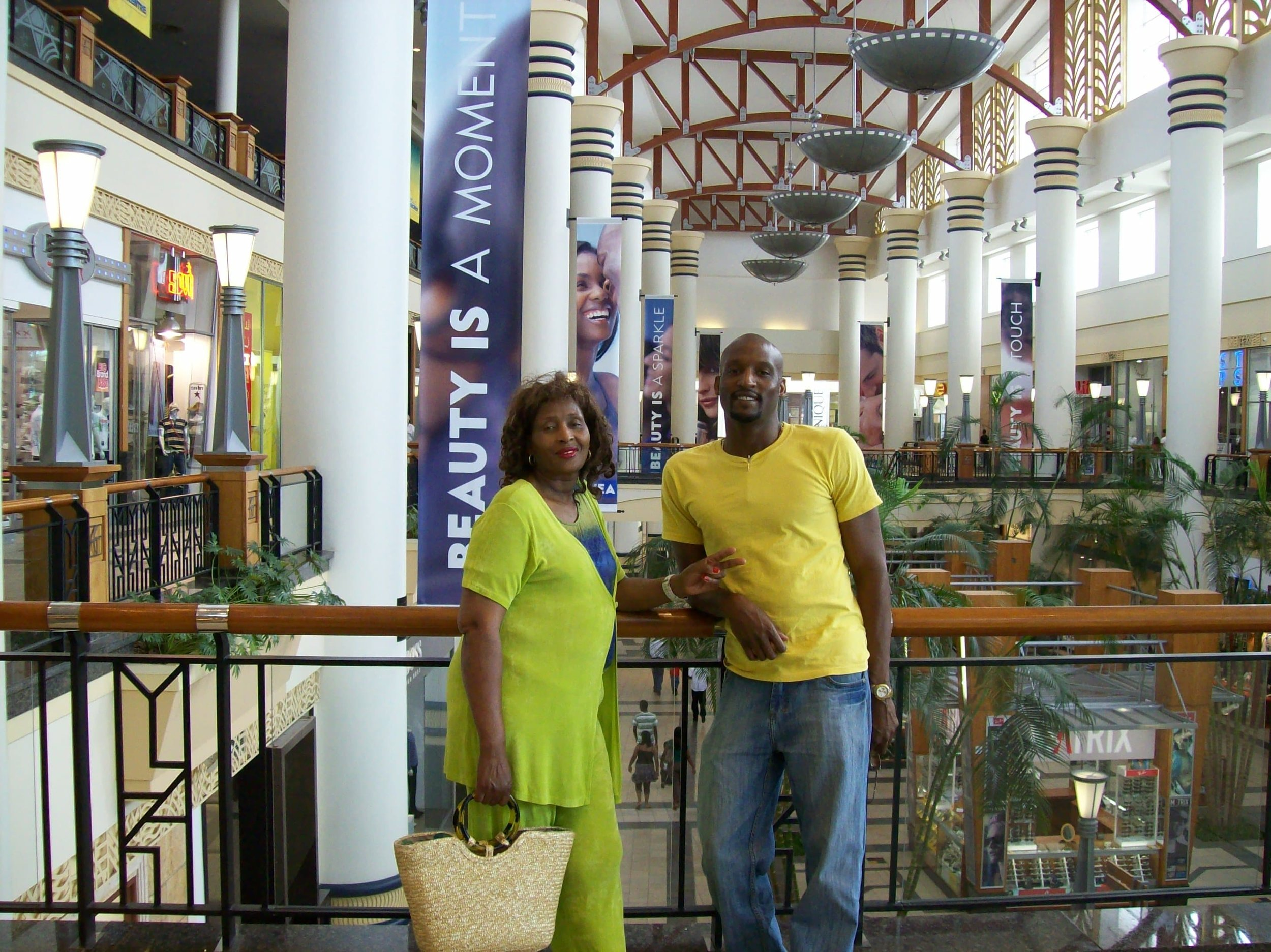 Elliott with his mother at a mall in Durban, South Africa.