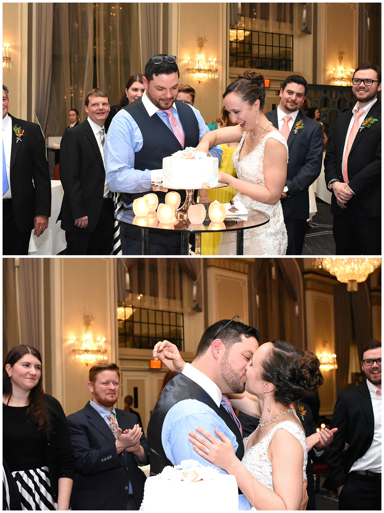 Bride and Groom Cake Cutting | Intimate Wedding Photographer | Chateau de Frontenac | Quebec City Wedding Photographer | Farm Wedding Photographer | Apollo Fields Wedding Photojournalism