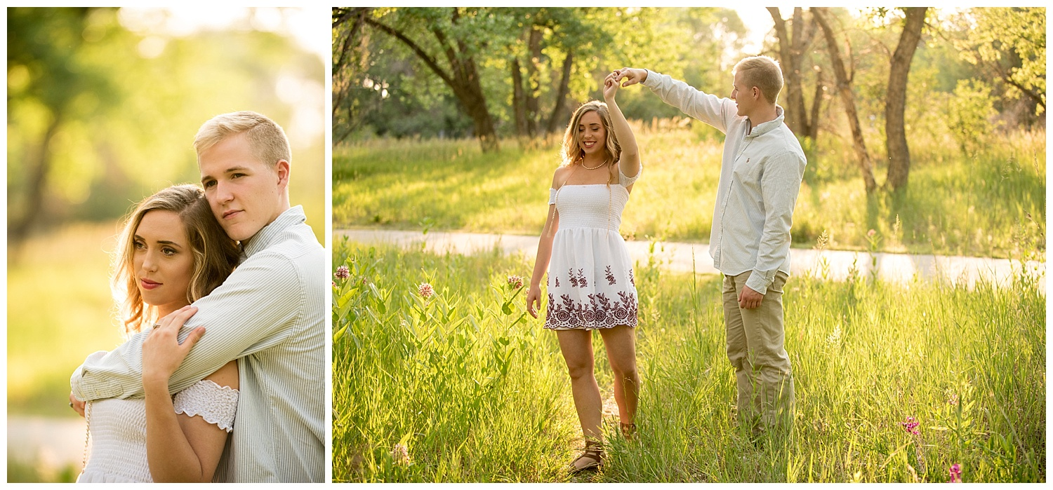 Young Couple Dancing in the Sunshine   Mike and Allison's Intimate Engagement Session   Clear Creek, Arvada, Colorado   Farm Wedding Photographer   Apollo Fields Wedding Photojournalism