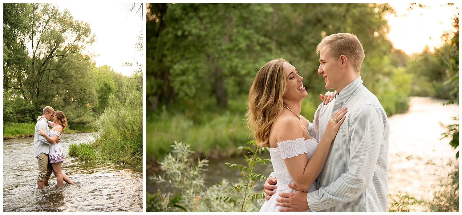 Young Couple Embracing in River   Allison and Mike's Intimate Engagement Session   Clear Creek, Arvada, Colorado   Farm Wedding Photographer   Apollo Fields Photojournalism