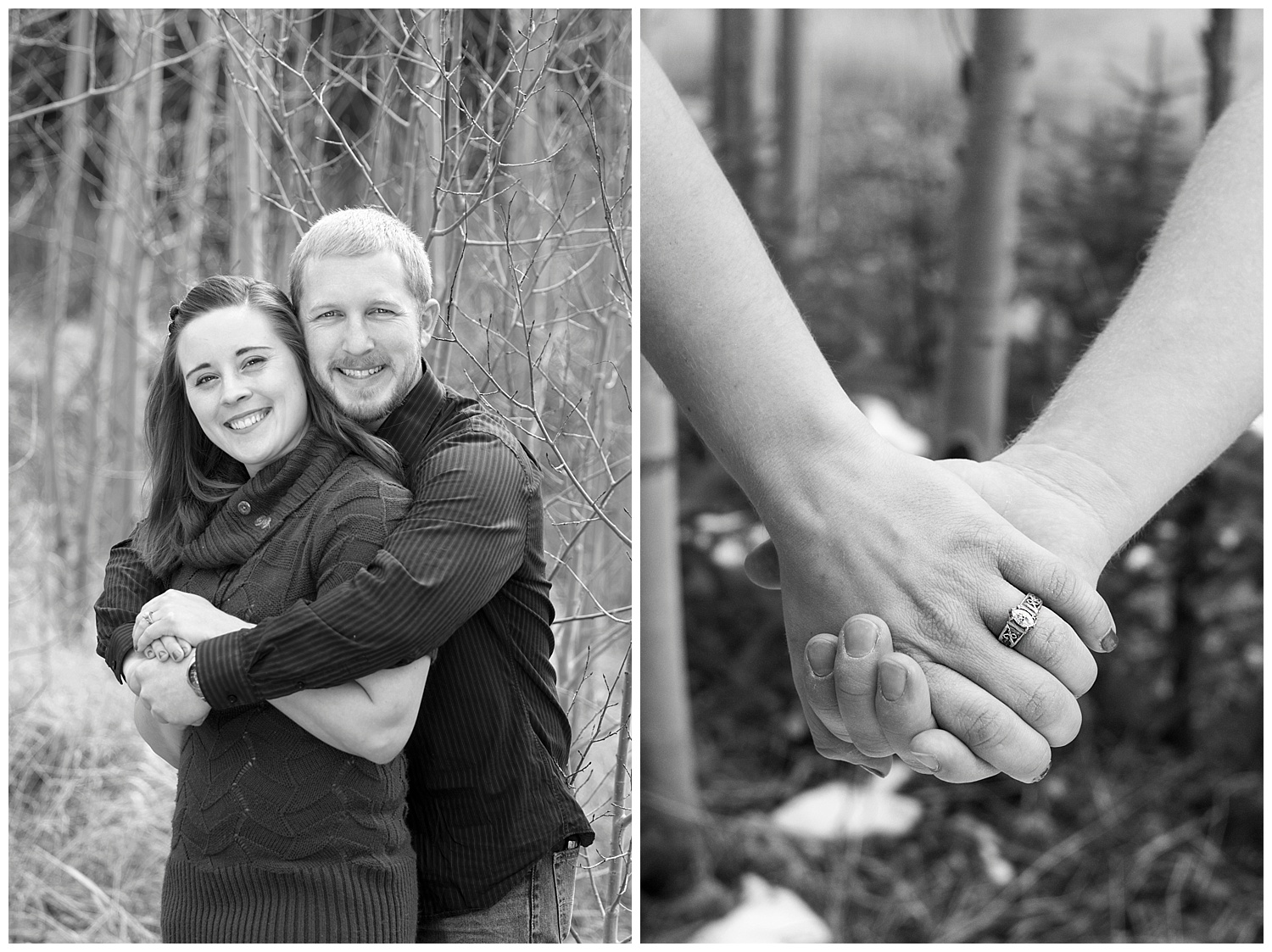 Couple in Black & White Smiling | Mountain Engagement Photography | Golden Colorado Wedding Photographer | Farm Wedding Photographer | Apollo Fields Wedding Photojournalism