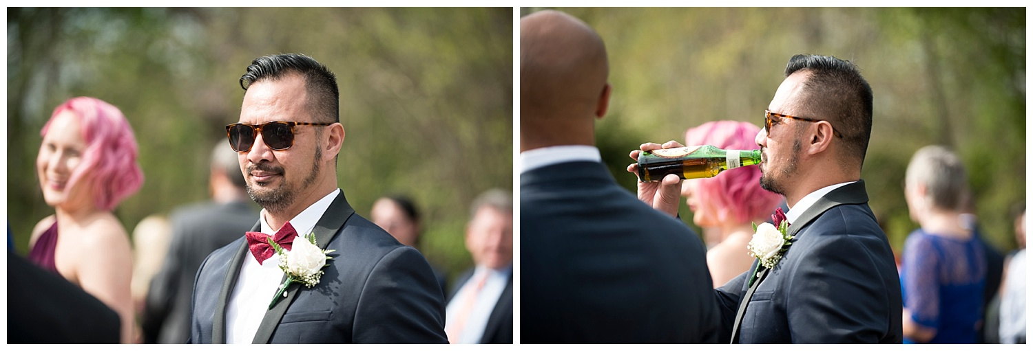 Groom with Sunglasses | Intimate Wedding Photographer | New York State Wedding Photographer | Farm Wedding Photographer | Apollo Fields Wedding Photojournalism