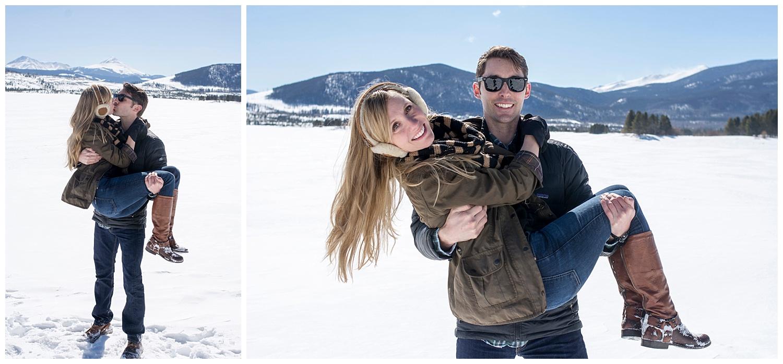 Man Holding Woman in Arms | Lake Dillon Colorado Engagement Photographer | Farm Wedding Photographer | Apollo Fields Wedding Photojournalism