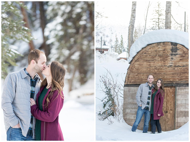 Man & Woman Kissing in Snow | Breckenridge Engagement Photography | Colorado Engagement Photographer | Farm Wedding Photographer | Apollo Fields Wedding Photojournalism