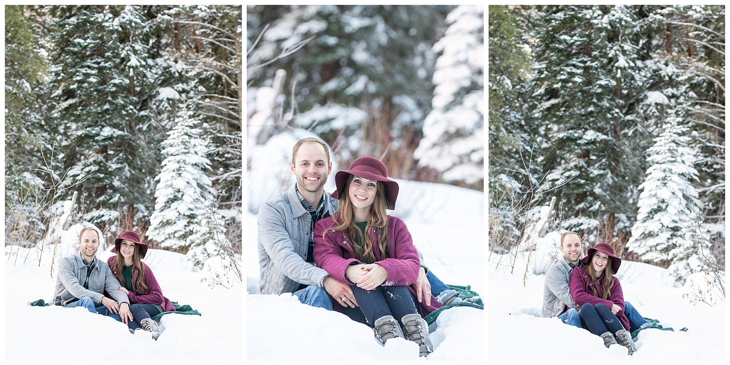 Man and Woman Sitting in Snow | Breckenridge Engagement Photography | Colorado Engagement Photographer | Farm Wedding Photographer | Apollo Fields Wedding Photojournalism