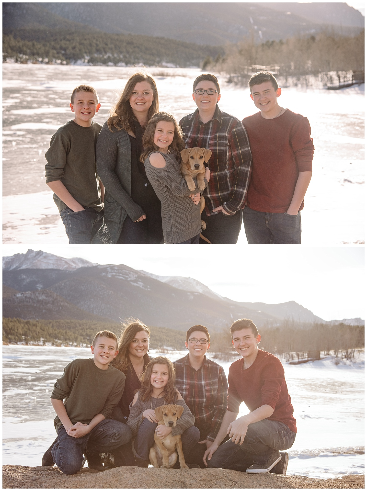 Young Family Posing 2 Moms | Jenny and Tara's Epic Mountain Engagement Session | Pikes Peak, Colorado Photography | Farm Wedding Photographer | Apollo Fields Wedding Photojournalism