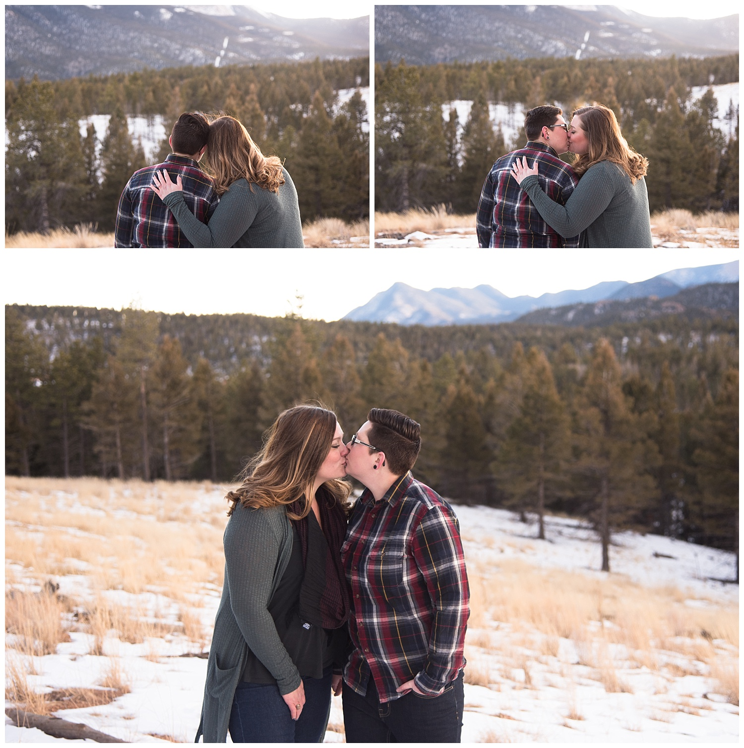 Lesbian Couple Kissing | Jenny and Tara's Epic Mountain Engagement Session | Pikes Peak, Colorado Photography | Farm Wedding Photographer | Apollo Fields Wedding Photojournalism