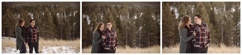 Young Lesbian Couple Embracing   Jenny and Tara's Epic Mountain Engagement Session   Pikes Peak, Colorado Photography   Farm Wedding Photographer   Apollo Fields Wedding Photojournalism