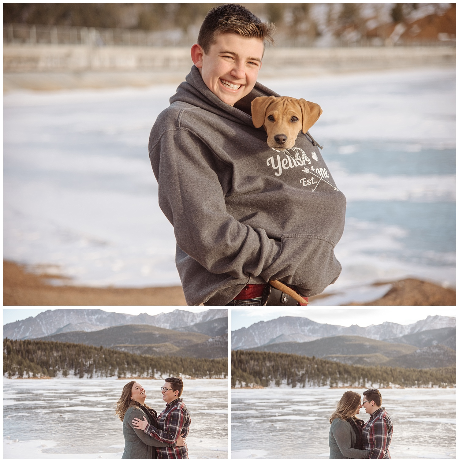 Young Man Holding Puppy in Sweater | Jenny and Tara's Epic Mountain Engagement Session | Pikes Peak, Colorado Photography | Farm Wedding Photographer | Apollo Fields Wedding Photojournalism
