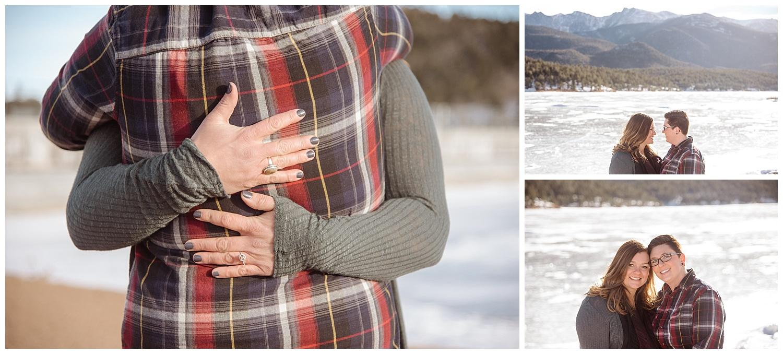 Close Up of Lesbian Couple Embracing   Jenny and Tara's Epic Mountain Engagement Session   Pikes Peak, Colorado Photography   Farm Wedding Photographer   Apollo Fields Wedding Photojournalism