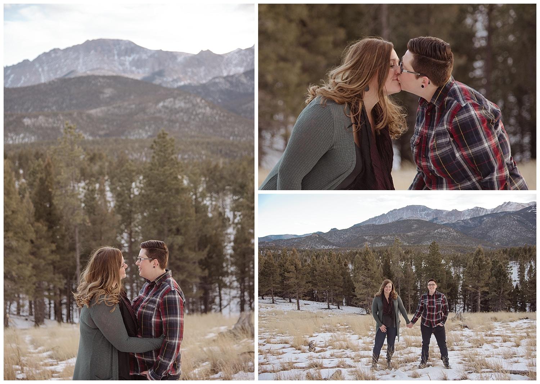 Young Lesbian Couple Kissing   Jenny and Tara's Epic Mountain Engagement Session   Pikes Peak, Colorado Photography   Farm Wedding Photographer   Apollo Fields Wedding Photojournalism