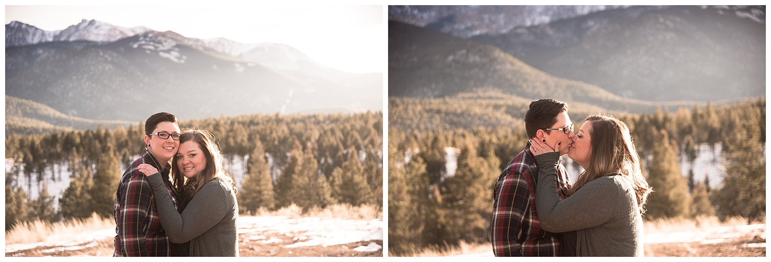 Adorable Young Lesbian Couple Embracing | Jenny and Tara's Epic Mountain Engagement Session | Pikes Peak, Colorado Photography | Farm Wedding Photographer | Apollo Fields Wedding Photojournalism