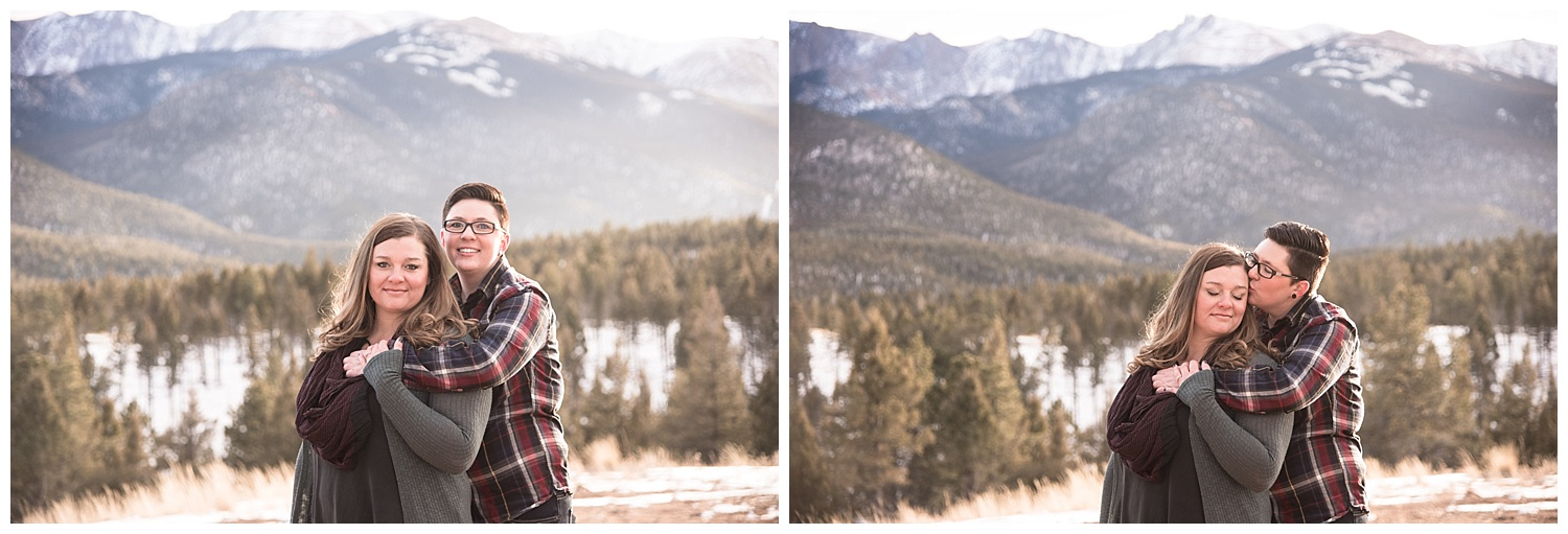 Lesbian Couple Embracing | Jenny and Tara's Epic Mountain Engagement Session | Pikes Peak, Colorado Photography | Farm Wedding Photographer | Apollo Fields Wedding Photojournalism