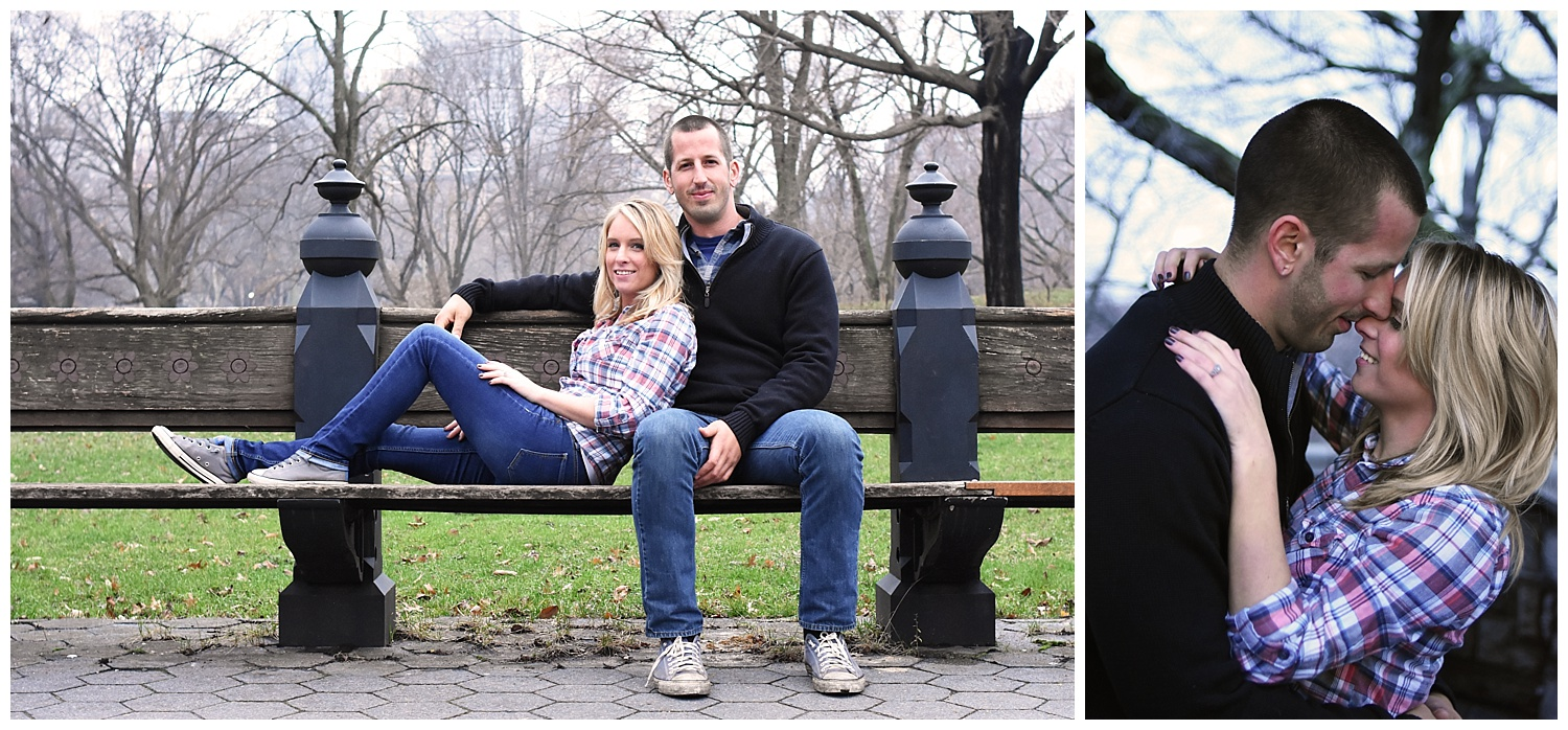 Couple Sitting on Bench | Central Park Engagement Photographer | Bethesda Fountain Wedding Photographer | Farm Wedding Photographer | Apollo Fields Wedding Photojournalism