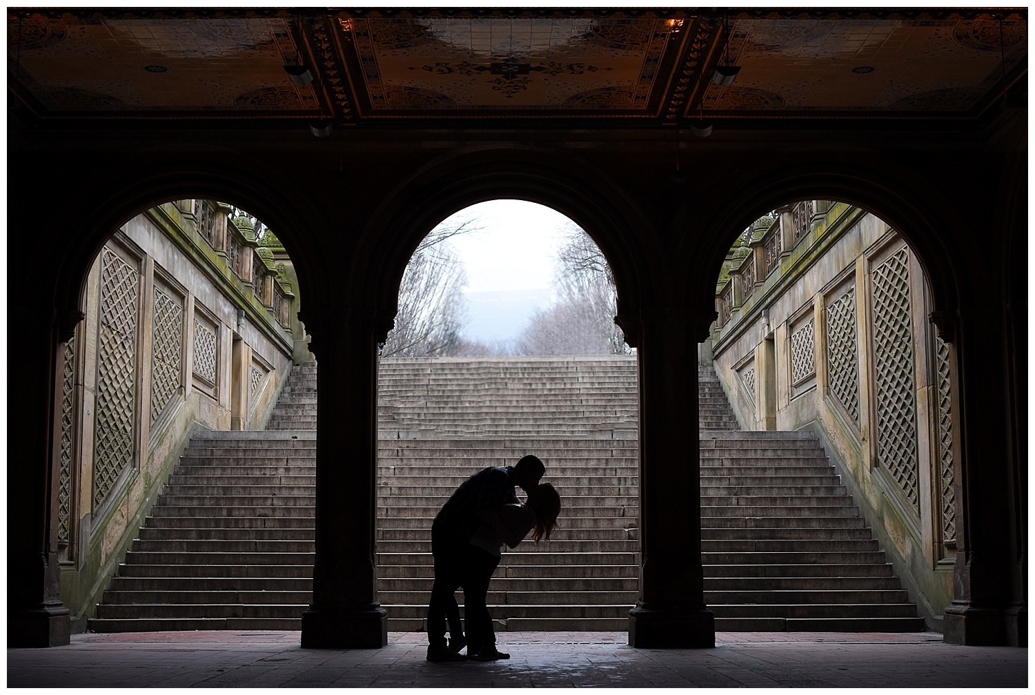 Silhouettes Kissing | Central Park Engagement Photographer | Bethesda Fountain Photography | Farm Wedding Photographer | Apollo Fields Wedding Photojournalism