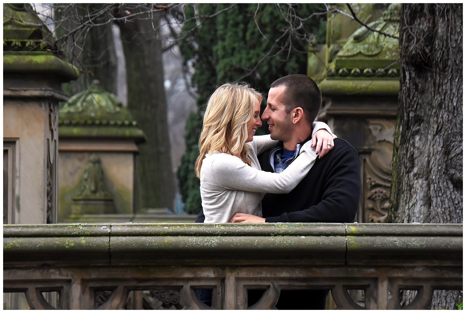 Woman Embracing Man | Central Park Engagement Photographer | Farm Wedding Photographer | Apollo Fields Wedding Photojournalism