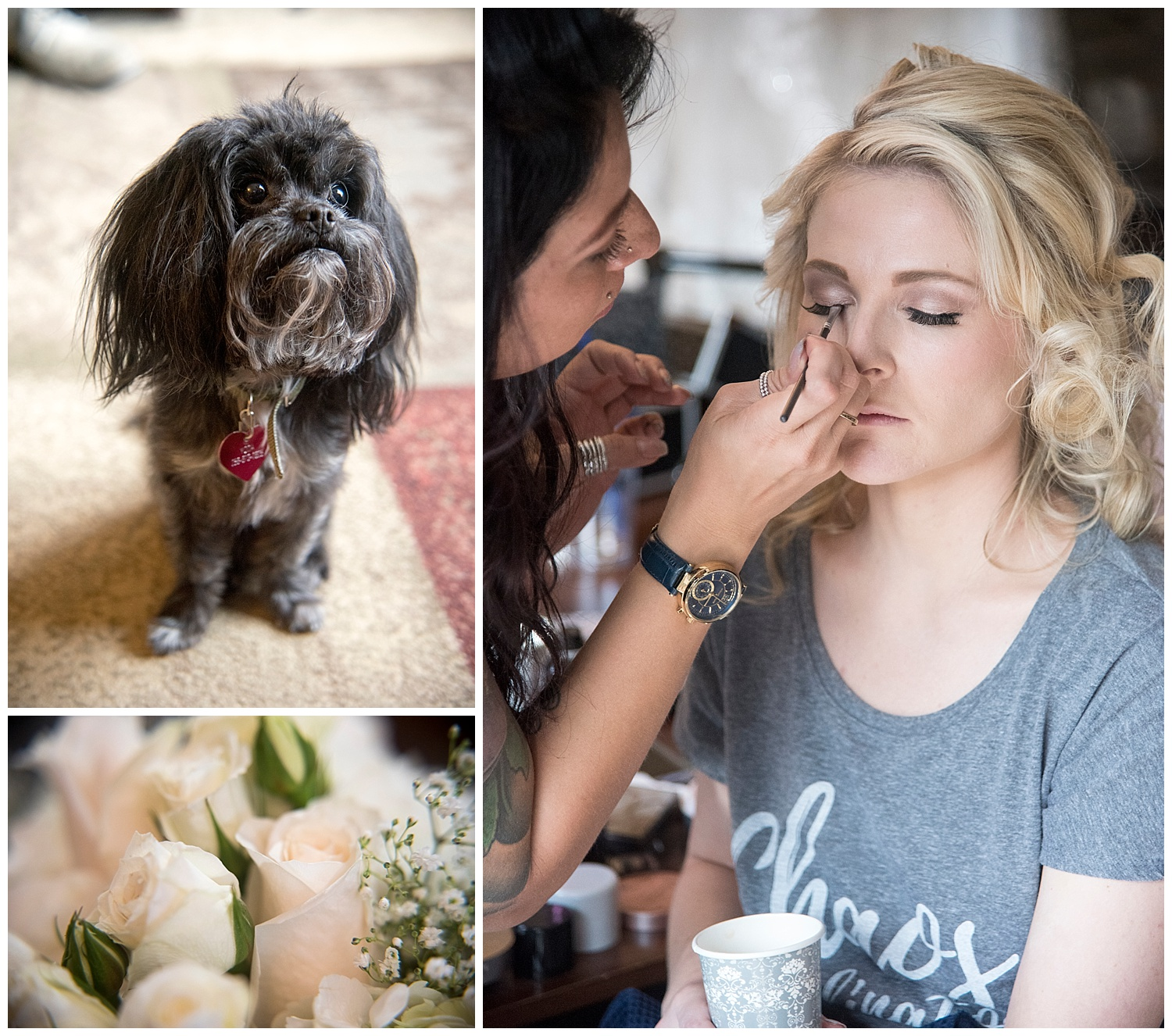 Collage of Bride, Dog, & Detail | Chris & Destiny's Destination Wedding | Breckenridge Wedding Photographer | Colorado Farm Wedding Photographer | Apollo Fields Wedding Photojournalism