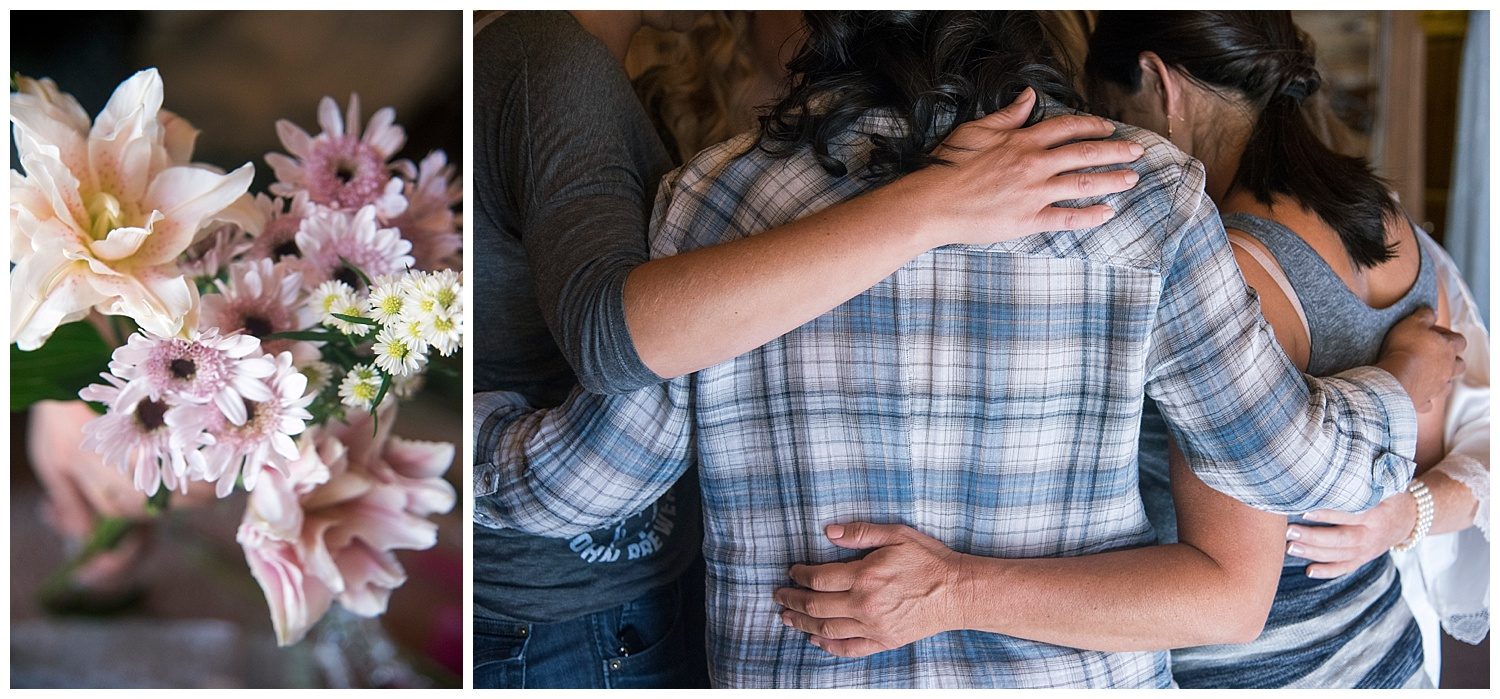 Close up of Wild Flower Bouquet | Family Hugging | Carolyn and Shawn's Wild Horse Inn Wedding at Devil's Thumb Ranch | Fraser Colorado Photography | Farm Wedding Photographer