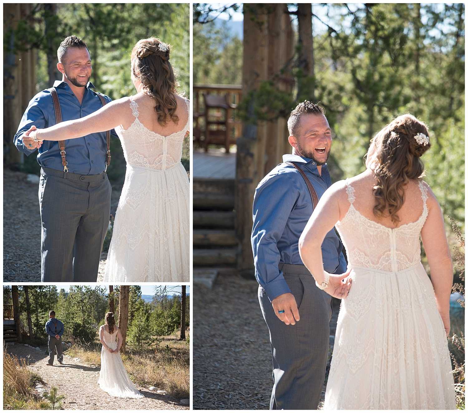 Man and Woman First Look | Carolyn and Shawn's Wild Horse Inn Wedding at Devil's Thumb Ranch | Fraser Colorado Photography | Farm Wedding Photographer | Apollo Fields Wedding Photojournalism