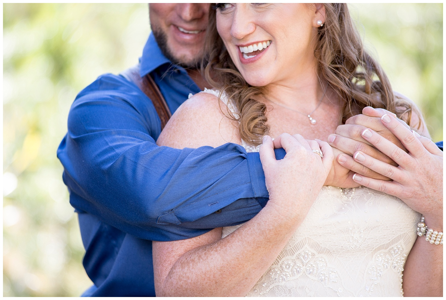 Man Hugging Woman From Behind | Carolyn and Shawn's Wild Horse Inn Wedding at Devil's Thumb Ranch | Fraser Colorado Photography | Farm Wedding Photographer | Apollo Fields Wedding Photojournalism