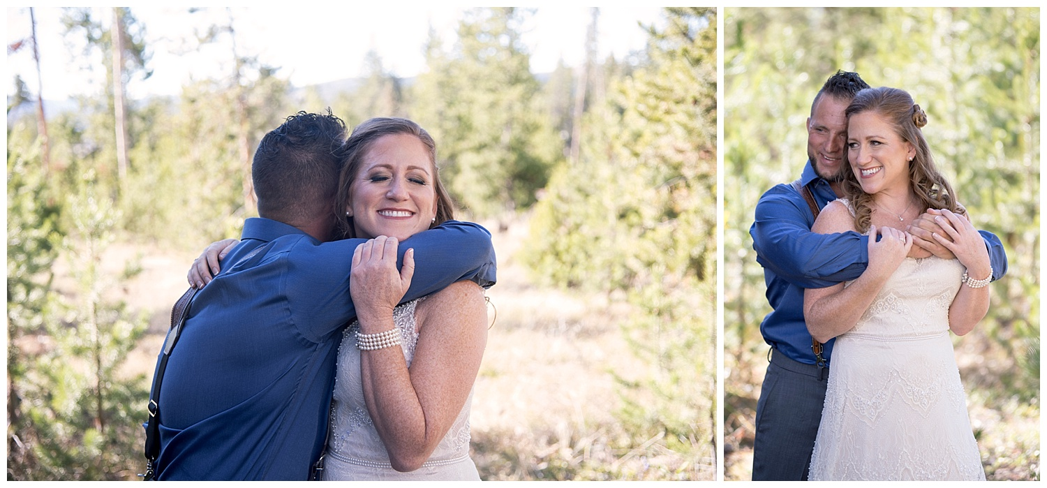 Groom Embracing Bride | Carolyn and Shawn's Wild Horse Inn Wedding at Devil's Thumb Ranch | Fraser Colorado Photography | Farm Wedding Photographer | Apollo Fields Wedding Photojournalism