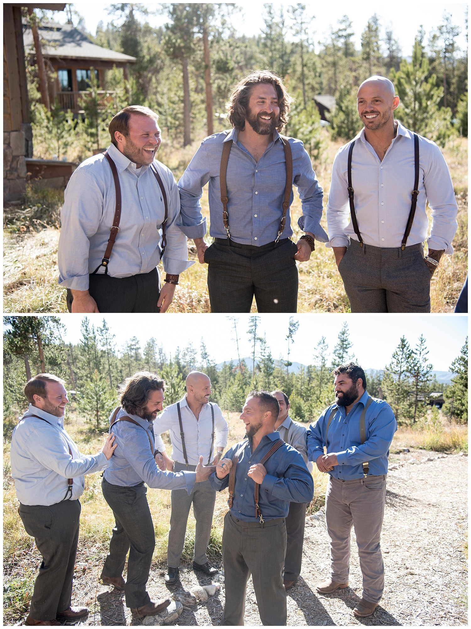 Groomsmen in Suspenders Smiling | Carolyn and Shawn's Wild Horse Inn Wedding at Devil's Thumb Ranch | Fraser Colorado Photography | Farm Wedding Photographer | Apollo Fields Wedding Photojournalism