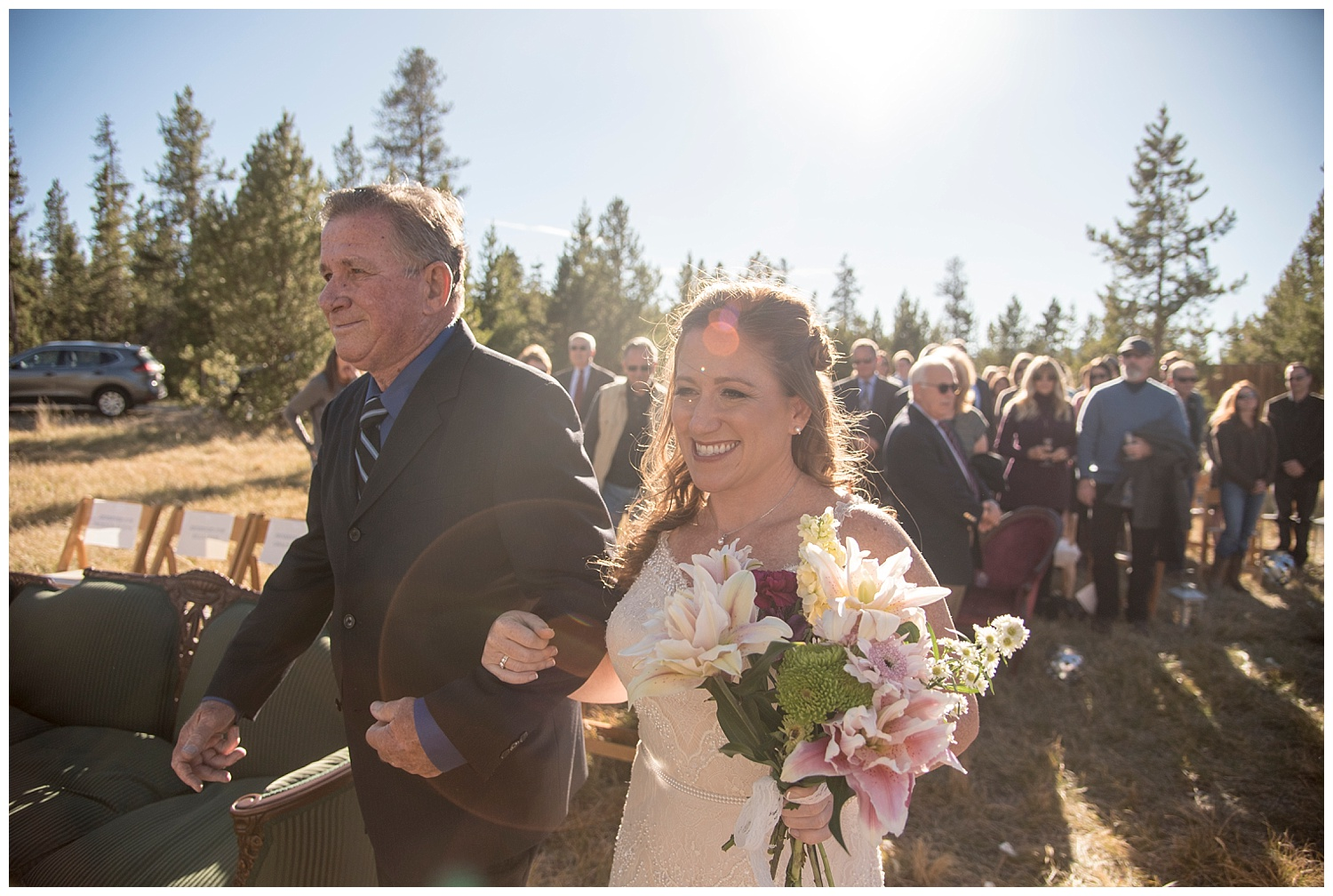 Walking Down the Aisle | Carolyn and Shawn's Wild Horse Inn Wedding at Devil's Thumb Ranch | Fraser Colorado Photography | Farm Wedding Photographer | Apollo Fields Wedding Photojournalism