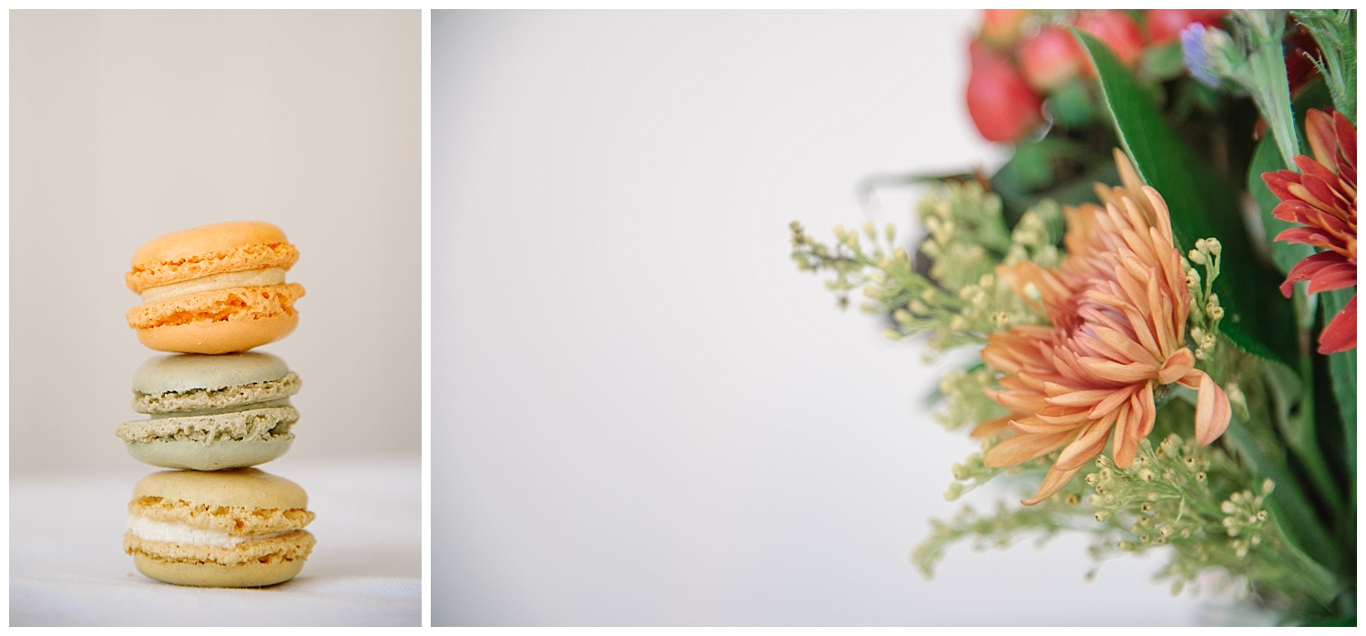 Close up of Macaroons & Flowers | Lindsey and Jeff's Intimate Wedding at Grant Humphrey's Mansion | Denver Colorado Photographer | Farm Wedding Photographer | Apollo Fields Photojournalism
