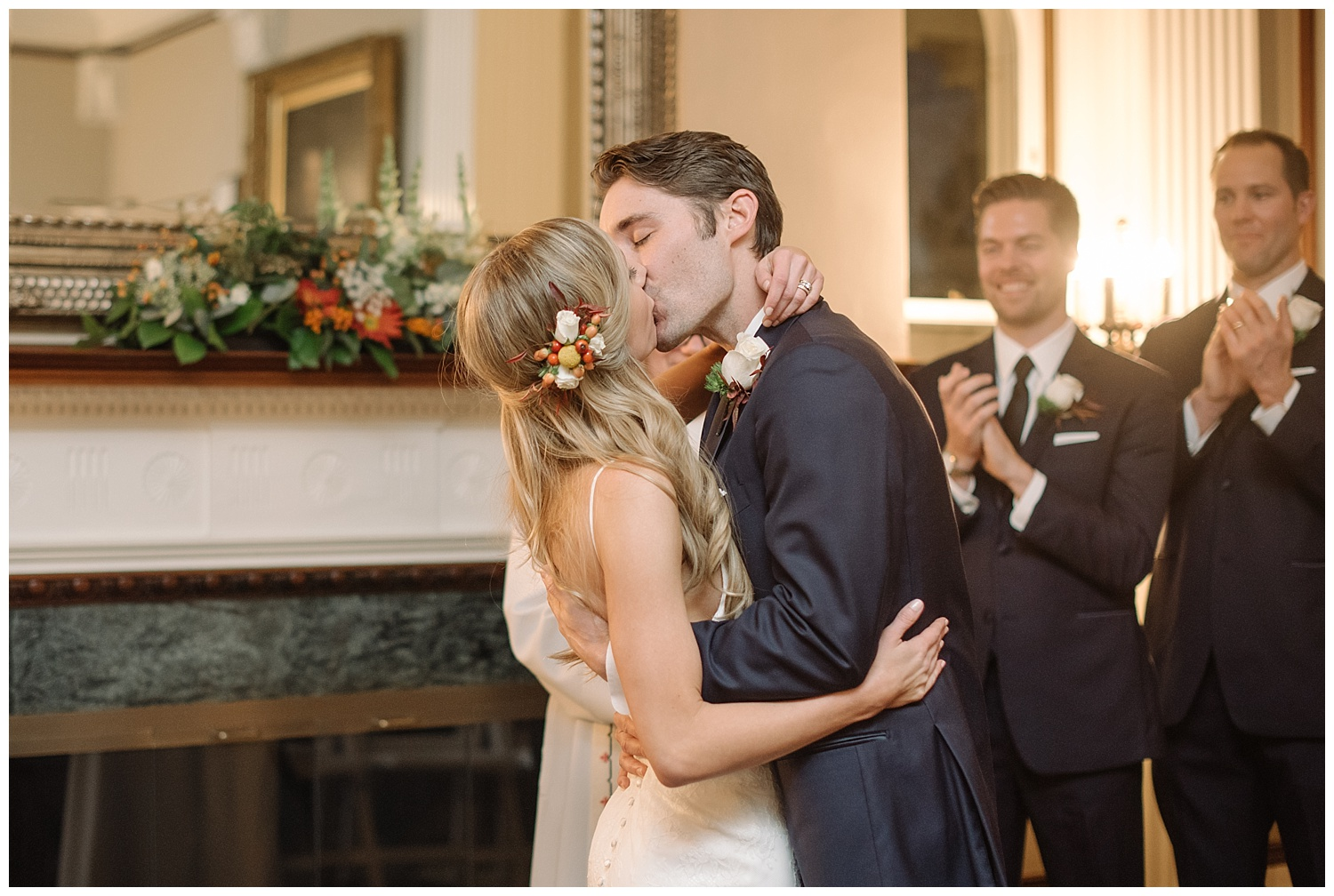 Bride Kissing Groom | Lindsey and Jeff's Intimate Wedding at Grant Humphrey's Mansion | Denver Colorado Photographer | Farm Wedding Photographer | Apollo Fields Wedding Photojournalism