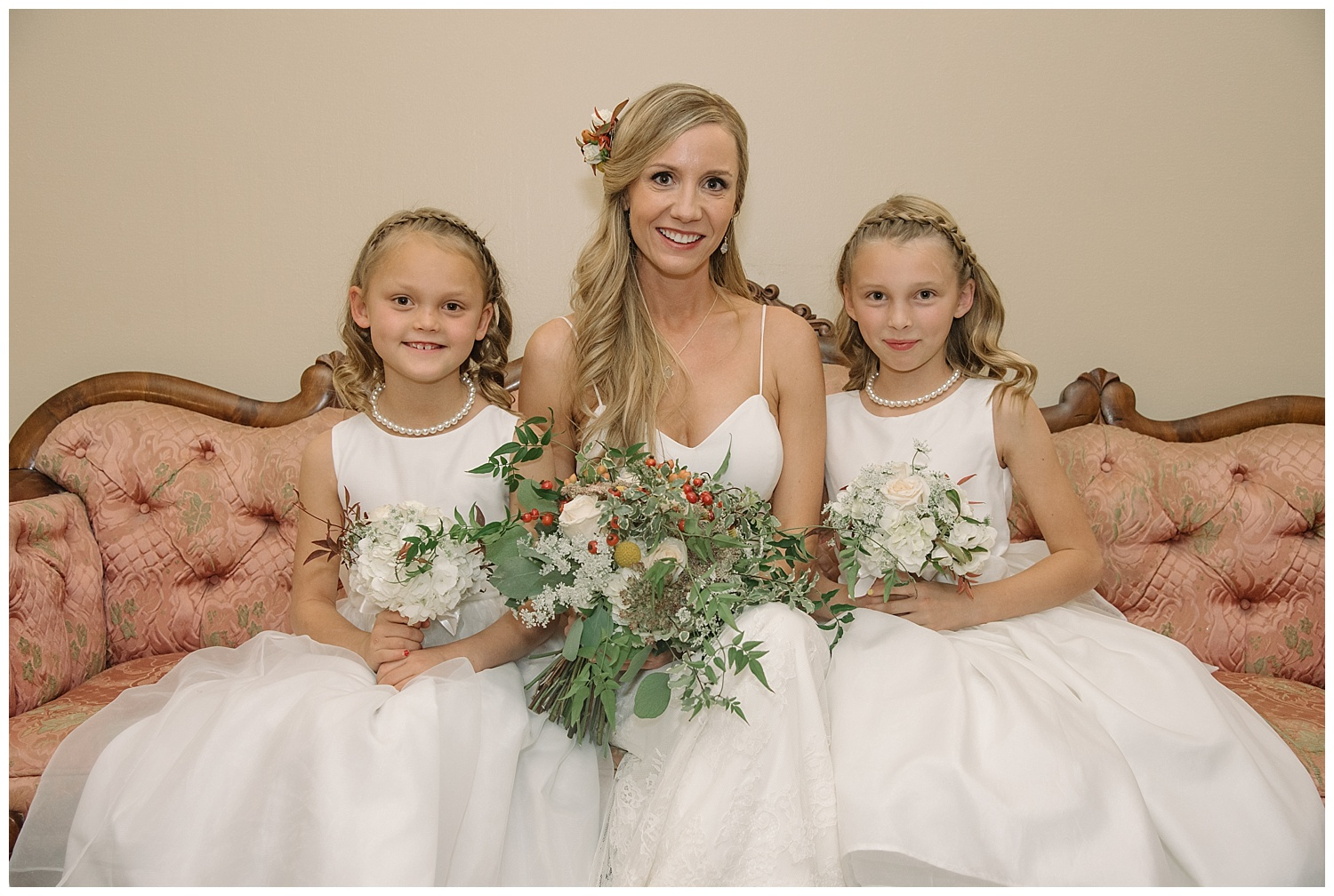 Bride with Flower Girls | Lindsey and Jeff's Intimate Wedding at Grant Humphrey's Mansion | Denver Colorado Photographer | Farm Wedding Photographer | Apollo Fields Wedding Photojournalism