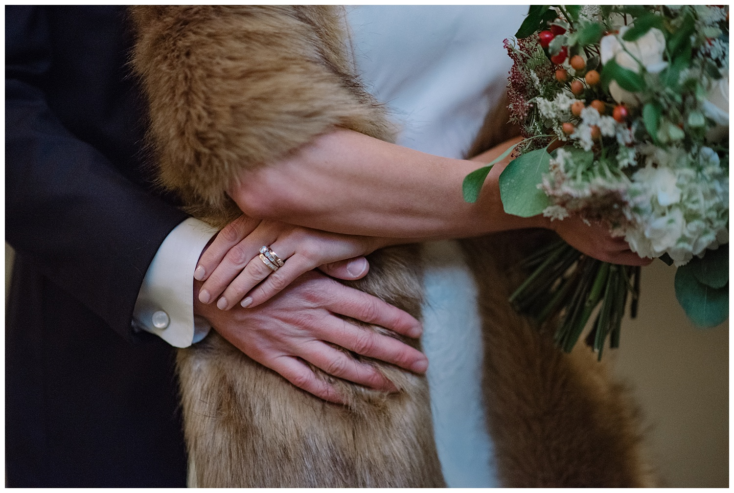 Close up of Bride & Groom Holding Hands | Lindsey & Jeff's Intimate Wedding at Grant Humphrey's Mansion | Denver Colorado | Farm Wedding Photographer | Apollo Fields Wedding Photojournalism