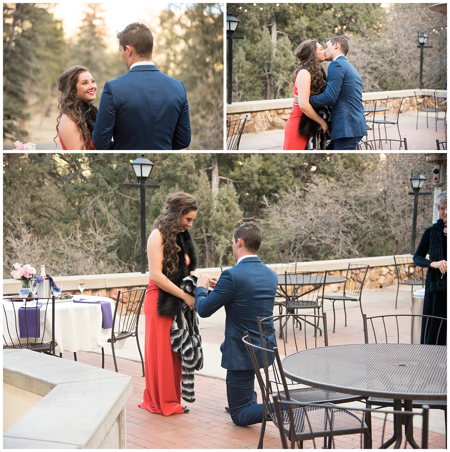 3 Pictures of Man Proposing | Nicholas and Eden's Surprise Proposal at Glen Eyrie Castle | Colorado Springs Photographer | Farm Wedding Photographer | Apollo Fields Wedding Photojournalism