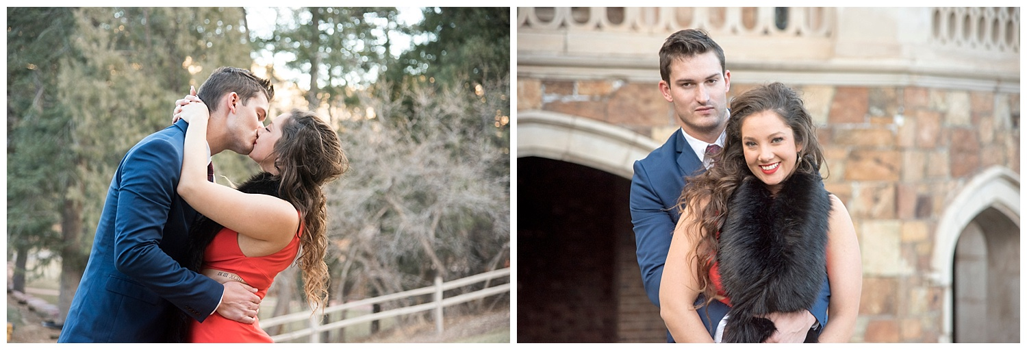 Engaged Couple Kissing | Nicholas and Eden's Surprise Proposal at Glen Eyrie Castle | Colorado Springs Photographer | Farm Wedding Photographer | Apollo Fields Wedding Photojournalism