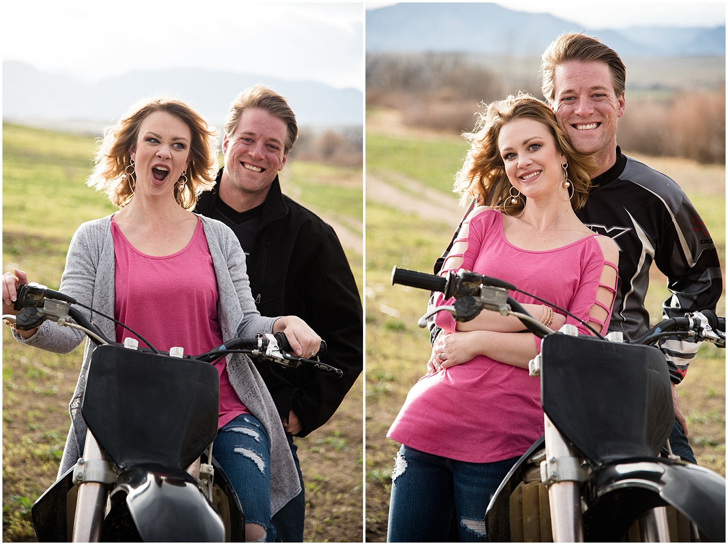 Man & Woman on Dirt Bikes | Dirt Bike Engagement Session | Colorado Adventure Engagement Photographer | Rocky Mountain Elopement Photography | Farm Wedding Photographer | Apollo Fields Photojournalism